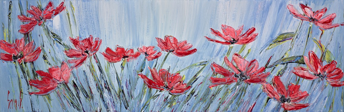Poppy Breeze III  by carl scanes -  sized 35x12 inches. Available from Whitewall Galleries